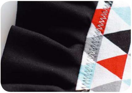 Отстрочка зигзагом с использованием ниток для вышивки