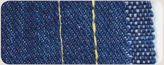 Слева — обычная прямая строчка, справа — тройная прямая строчка